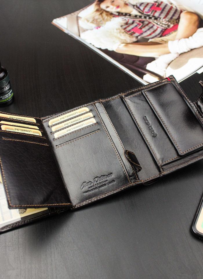 Portfel Męski Peterson Skórzany 348 Mieści Dowód Rejestracyjny w Etui! Ochrona RFID Stop