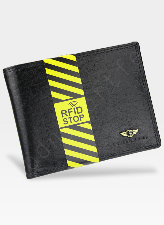 Portfel Męski Peterson Skórzany 382 Czarny RFID STOP