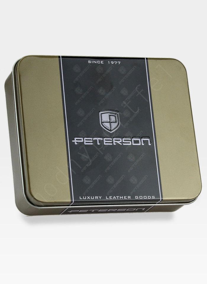 Portfel Męski Peterson Skórzany Ciemny Brąz System RFID STOP 302