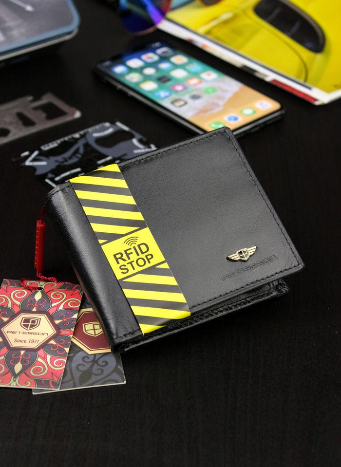 Portfel Męski Peterson Skórzany Czarny System RFID STOP Mały 315