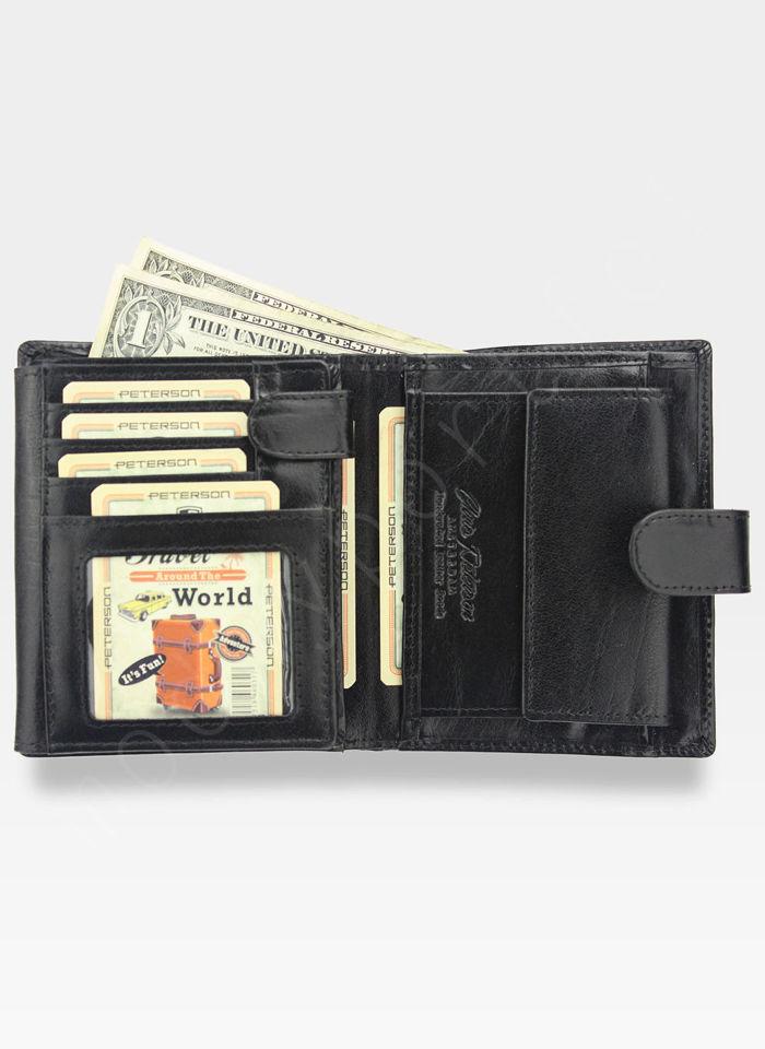 Portfel Męski Peterson Skórzany Czarny Zapinany System RFID STOP 301