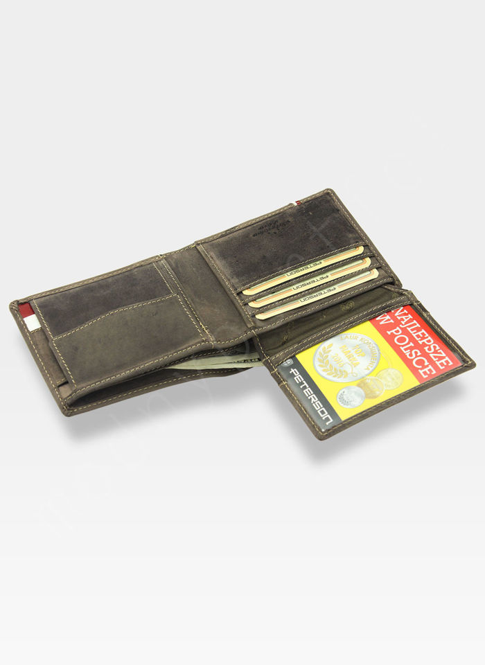 Portfel Męski Peterson Skórzany Nubuk RFID