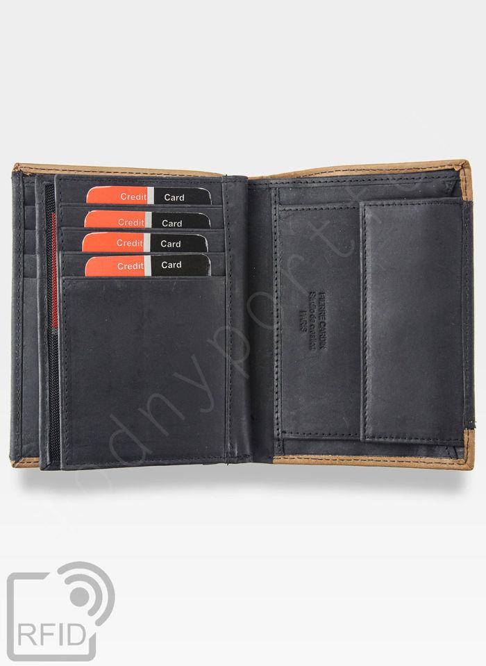 Portfel Męski Pierre Cardin Skóra Naturalna Pionowy Czarny + Brązowy HUNTER 331 Wbudowana ochrona RFID