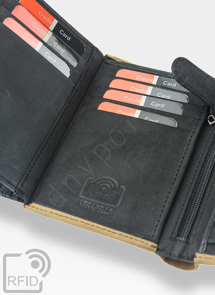 Portfel Męski Pierre Cardin Skórzany Czarny Pionowy HUNTER 326 Wbudowana ochrona RFID
