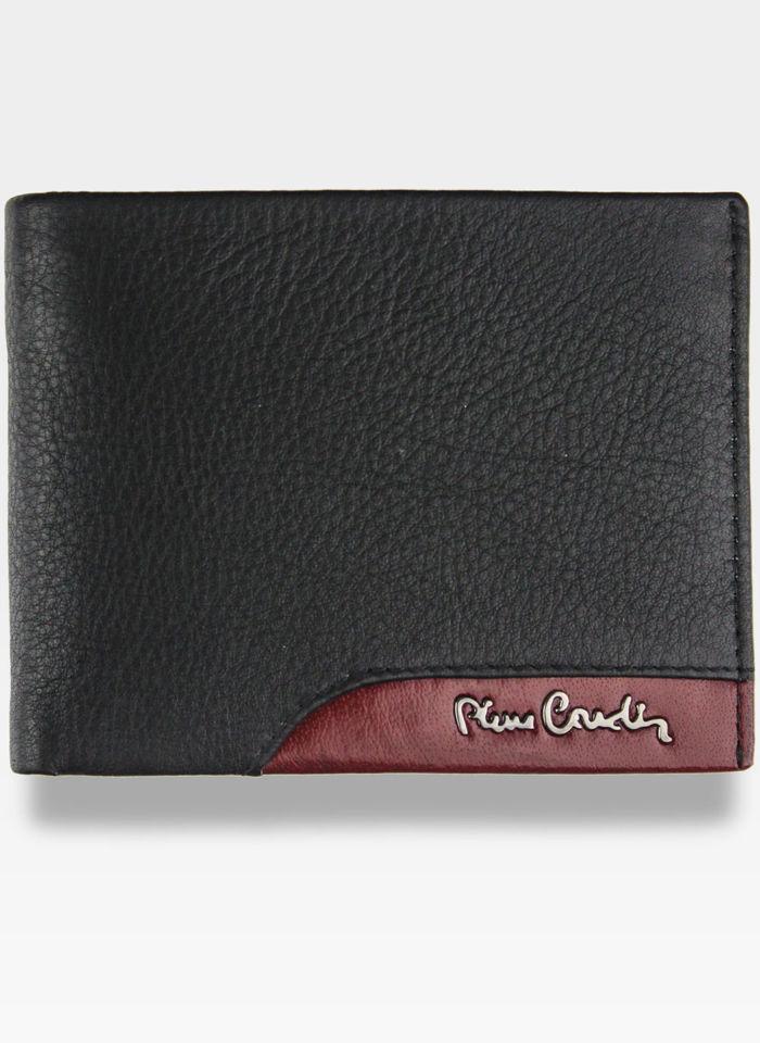 Portfel Męski Pierre Cardin Skórzany Poziomy Czarny Tilak34 8804 Nero/Rosso