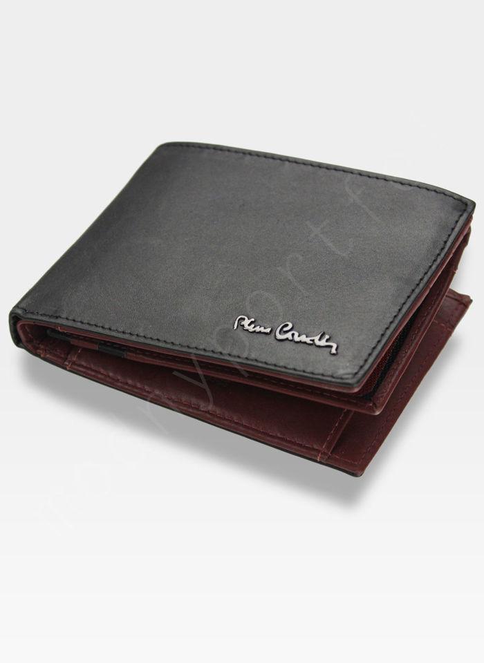 Portfel Męski Pierre Cardin Skórzany Poziomy Tilak27 8805 Czarny + Bordowy RFID
