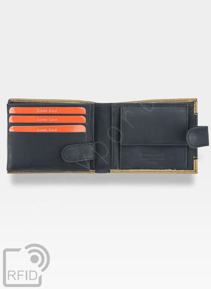 Portfel Męski Pierre Cardin Skórzany Zapinany Czarny HUNTER 323A Wbudowana ochrona RFID
