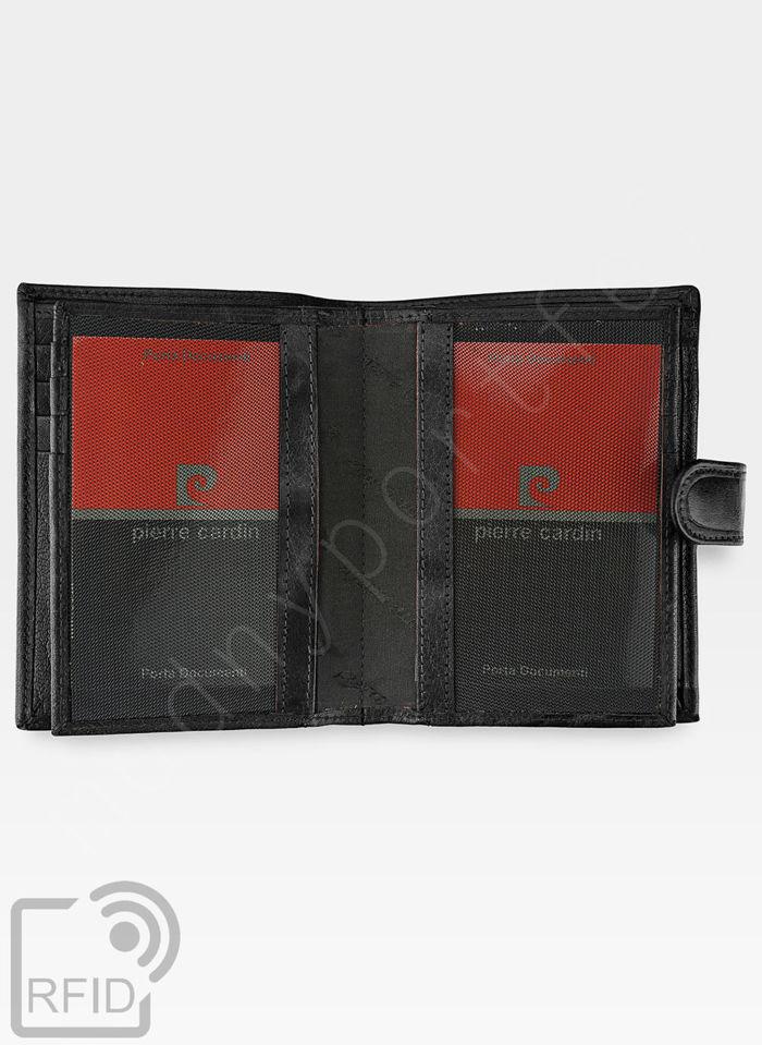 Portfel Męski Pierre Cardin Skórzany Zapinany Pionowy Czarny Tilak12 331A RFID