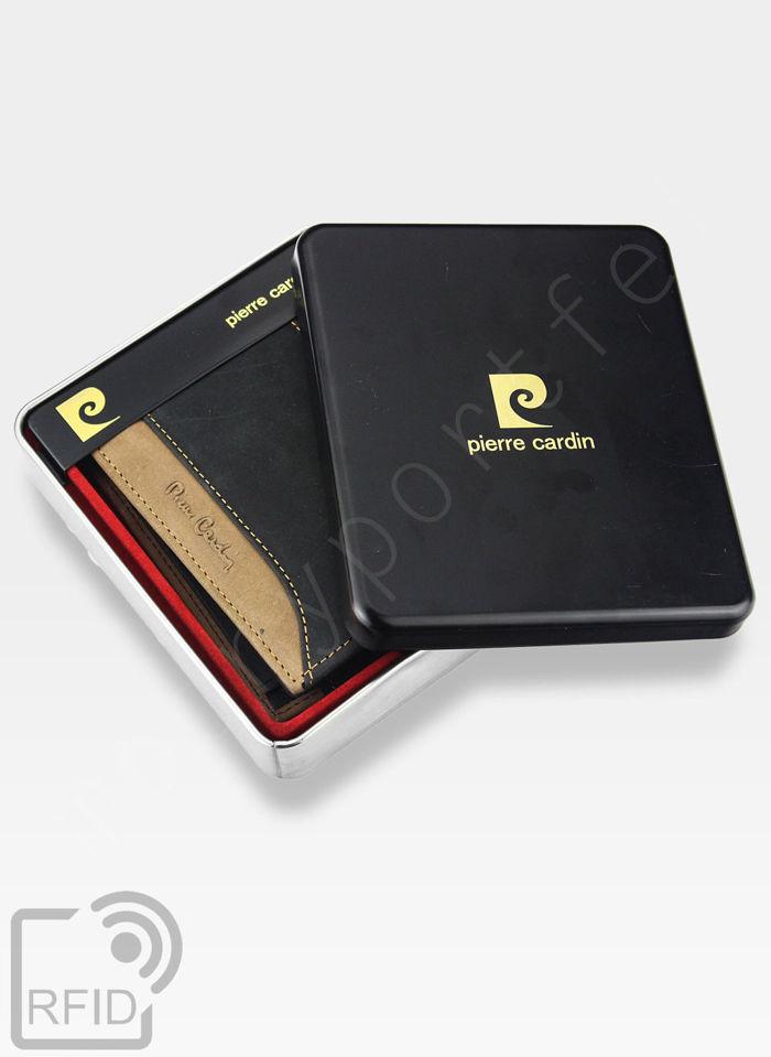 Portfel Męski Poziomy Pierre Cardin Czarny + Brązowy Skórzany HUNTER 8806 Wbudowana ochrona RFID