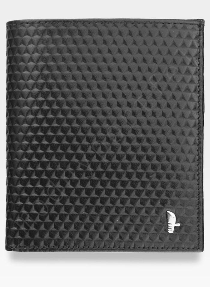 Portfel Męski Skórzany Puccini Czarny E1698 Kolekcja Orion 3D Wytłoczona Tekstura