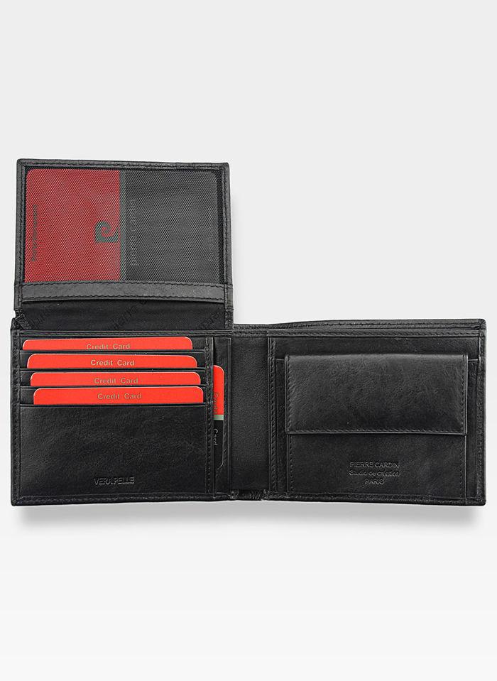 Portfel Poziomy Męski Pierre Cardin Skórzany Czarny Tilak06 8806 Pudełko Ochrona RFID