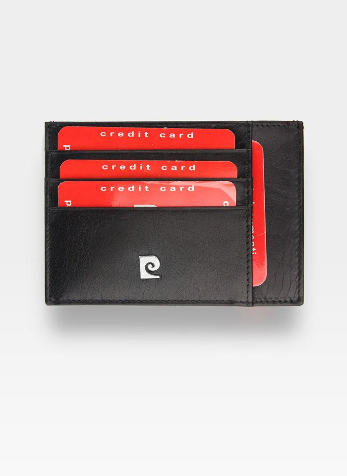 Portfel Skórzany Cardholder Męski Pierre Cardin Slim Czarny Etui P020