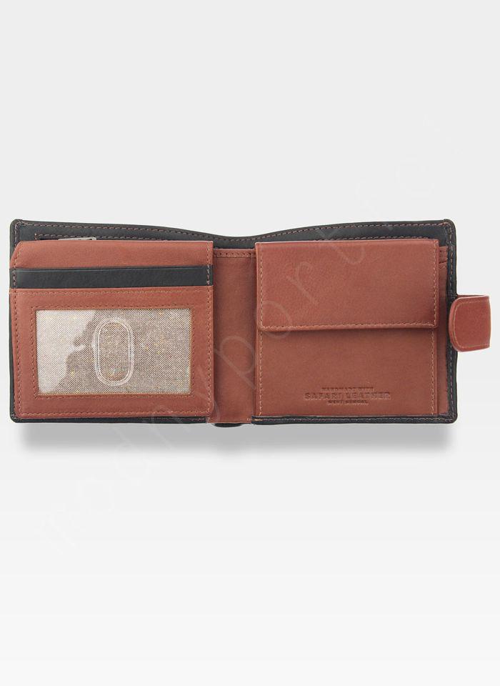 Tumble And Hide Bezpieczny Portfel Męski Skórzany Czarno Brązowy Zapinany RFID 2090 46 14