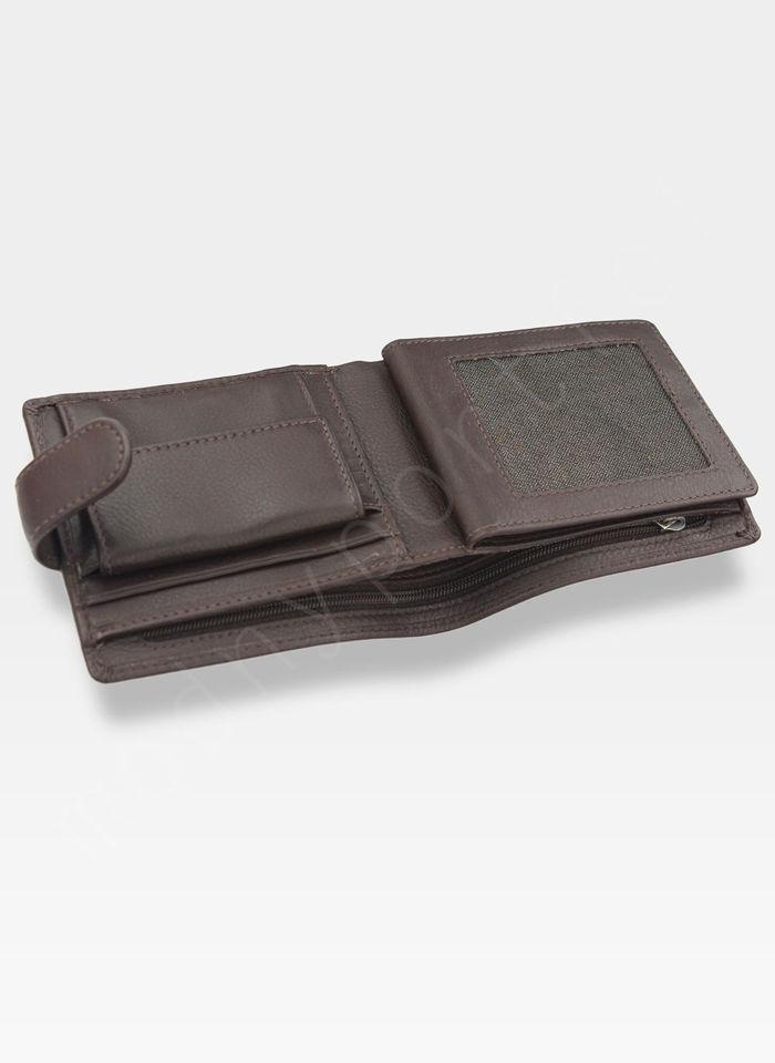 Tumble and Hide Bezpieczny Portfel Męski Skórzany Brązowy Zapinany RFID 2032 17 2