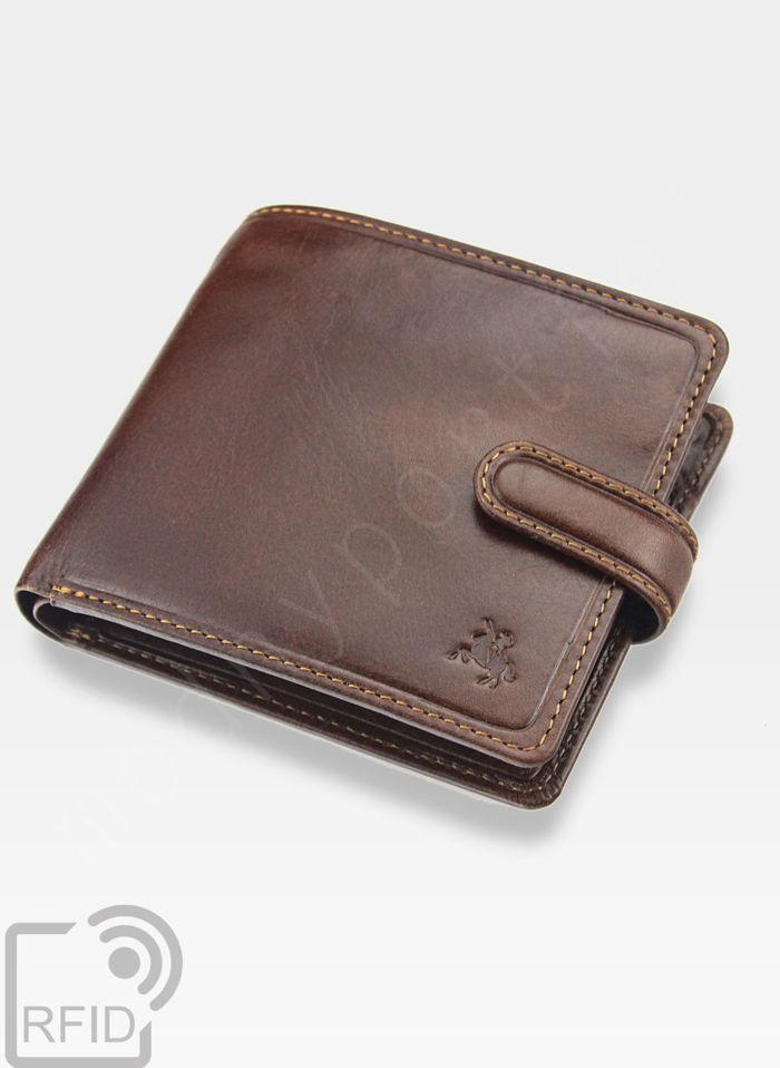 Viscont Bezpieczny Portfel Męski Skórzany Jansy Brąz RFID TSC42