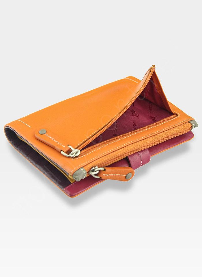 Visconti Portfel Damski Skórzany M87 Pomarańczowy multi