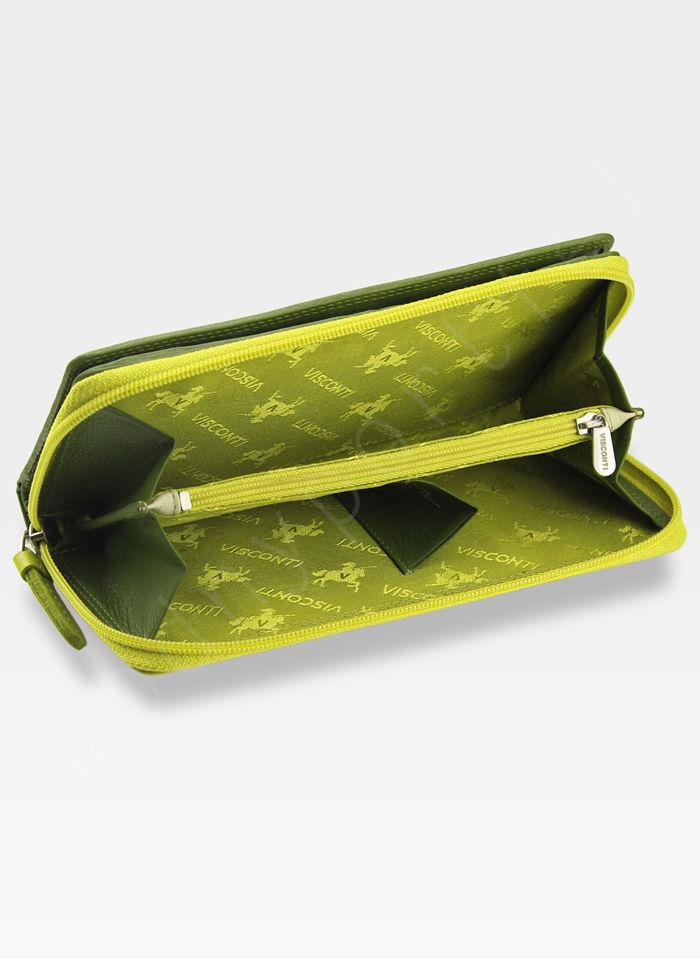 Visconti Portfel Damski Skórzany RAINBOW RB55 Zielony Multi