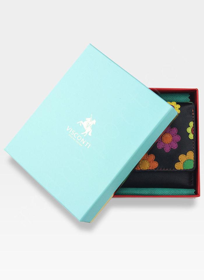 Visconti Portfel Damski Skórzany w Kwiatki Daisy DS81 Czarny