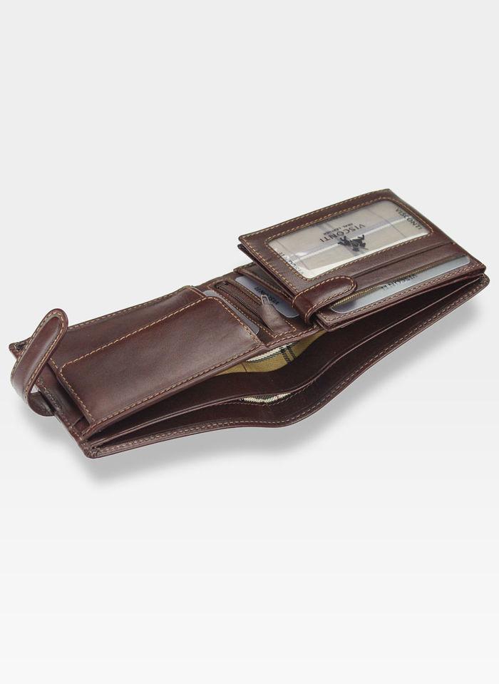Visconti Portfel Męski Skóra Włoska MONZA MZ5 Brązowy RFID