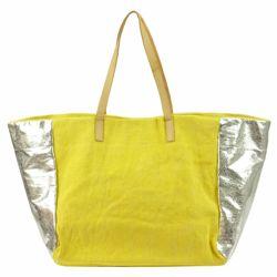 Damska Torebka ekologiczna A4 Lookat LK-Y1307 żółty+srebrny