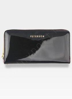 Portfel Damski Skórzany PETERSON 781 Czarny Lakierowany RFID
