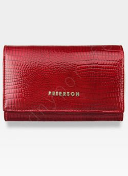 Portfel Damski Skórzany PETERSON Lakierowany 601 Czerwony +Beż